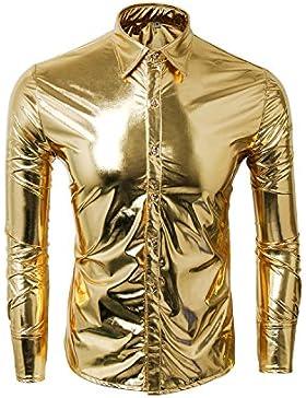 Cusfull Moda Uomo Camicie Maniche Lunghe Bronzare Pulsante Bling Men Shirts Tops Slim Fit costume perfetto per...