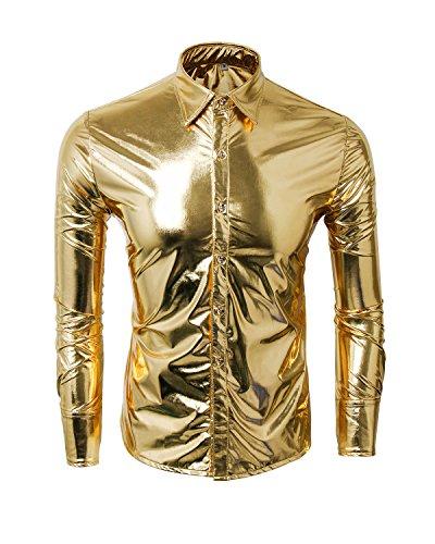 Cusfull Herren Hemd Metallic Glänzend Langarmshirt Glitzer Schlank Fit Kostüm für Nightclub Party Tanzen Disco Halloween Cosplay(Gold, XXL) (Gold Kostüm Männer)