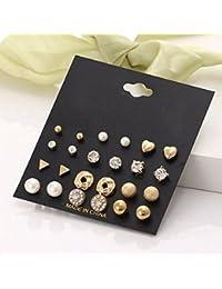 Hosaire 12 Pairs Pendientes de las mujeres románticas orejas pequeñas plumas y pedrería brillo forma de bola cuadrados regalo de la joyería elegante del Amor (Oro)