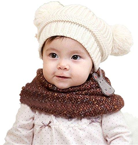 Tefamore Linda bolas de doble niño tejido de punto sombrero (Blanco)