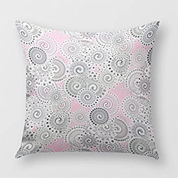 Fractal Swirl Pattern Pink And Grey Throw Pillow Cover For Sofa Or Bedrooms