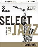 Rico Anches sélectionnées Rico Jazz pour saxophone alto, coupe à la française, force 3-Medium, pack de 10