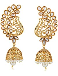 Meenaz Wedding Bridal Gold Pearl Peacock Kundan Jhumka Jhumki Earrings For Women Girls Party Wear Stylish Necklace... - B07C3F78TQ