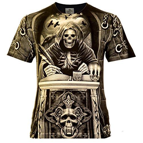 Blood-skull-t-shirt (The Judge Herren T-Shirt Schwarz Gr. 3XL Komplett Bedruckt)