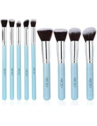 Abody 9Pcs Makeup Brush Set Start Makers Makeup Brushes Professional Cosmetic Kit with Foundation Brush Powder Brush Eye Brush Blue