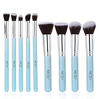 Brochas de Maquillaje Profesional, Abody 9 pcs Pinceles de Maquillaje para Base de Maquillaje, Sombra de Ojos, Colorete, Polvo, Las Cejas, Azul