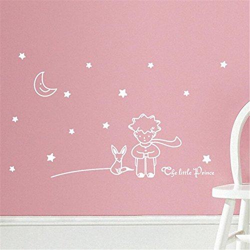 ZARU Estrellas Luna y Chico Wall Sticker Decoración para el hogar (Blanco)