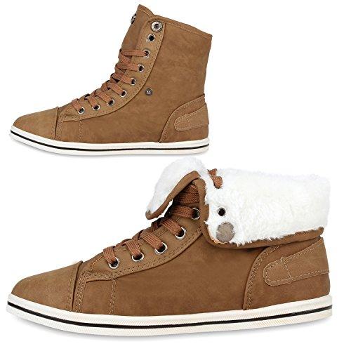 Warm Gefütterte Damen Sneakers Low Schnallen Zierknöpfe Schuhe Khaki