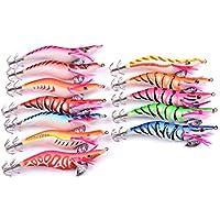 Aorace 12 unids/lote 11.5 cm/14.25 g Squid Jig Luminoso Camarón Señuelos de Pesca Ganchos de madera Camarones Cebos Artificiales Kit Glow Bait