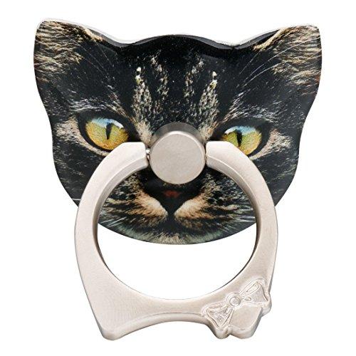 Tiaobug Universal Aufkleber Ring Standplatz Handy Halter 360 Grad Drehbar Metall Smartphone Griff Ring Finger Grip Handy Ständer Halter Halterung Schwarz Katze One Size