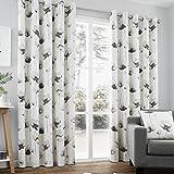 Just Contempo Vorhang/Gardine mit Ösen, Blumenmuster in Wasserfarbenoptik, handbemalt, Polyester-Baumwolle, grau, 168 x 183 cm