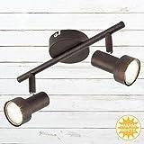 Briloner Leuchten- LED Deckenleuchte, Deckenlampe mit 2 Dreh-und Schwenkbaren Spots, Fassung: GU10, inkl. 2x3W, Metall, Maße: 27.5x12 cm, Farbe: Kupfer-Antik