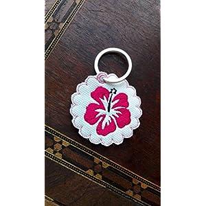 Schlüsselanhänger, Taschenbaumler, Kunstleder, Blume, Hibiskus