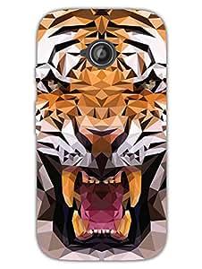 Moto E2 Back Cover - Tiger Poly Art - Wild - for Animal Lovers - Designer Printed Hard Shell Case