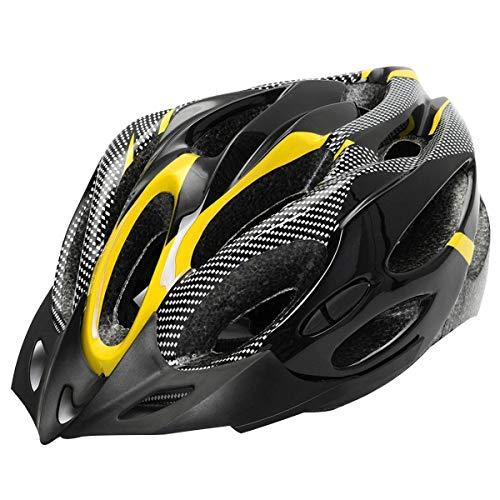 Vpuquuz MTB Carbon Fahrrad Rennrad Radsport Erwachsene Helme Mountainbike Allround-Helme Outdoor Sports Skate Helm Sicherheit für Männer Frauen Jugend Schutzausrüstung Fahrradhelm (Gelb)