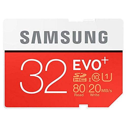 Samsung EVO+ 32GB Class 10 UHS-1 SDHC Memory Card, Up to 80MB/s Read, Up to 20MB/s Write Speed