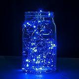 B-right 30er Micro LED Lichterketten mit Batterie, LED lichterketten draht, Blau, Dekoration für Terrasse, Garten, Schlafzimmer, Weihnachtsfest, Hochzeit