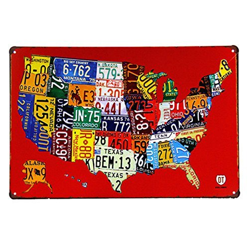NGLJ T-ray American Craft Car License Plate Metal Painting Retro Garage Wall Decor
