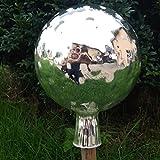 Naturholz-Schreinermeister XL Rosenkugel Silber Traubenoptik Höhe 21cm Durchmesser 15cm Rosenkugeln Gartenkugel Handarbeit stabieles Glas verspiegelt und wetterfest (Silber)
