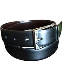 Perry Ellis Men's Reversible Leather Black Brown Dress Belt No Stitch 36