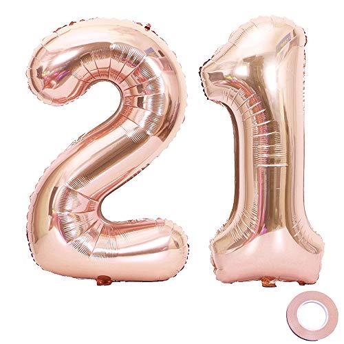 1. Geburtstag XXL Riesen Folienballon Zahl 21 12 Rose Gold Nummer Ballons Große Folienmylar-Ballons 40-Zoll-Riesen-Jumbo-Zahl-Ballons zum 21. Geburtstag Partydekorationen ()