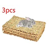 DULALA 3pcs tappetini in Erba di Coniglio Mat per Conigli Masticare Giocattoli per Conigli tappetini di Coniglio sicuri e commestibili per Gabbie Coniglietto