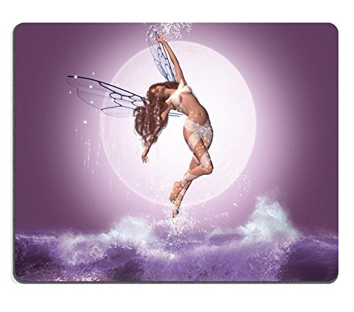 Liili Mauspad Naturkautschuk Mousepad Bild-ID 32573947Beautiful Fairy Flying über die Wellen in eine Nacht mit Full Moon