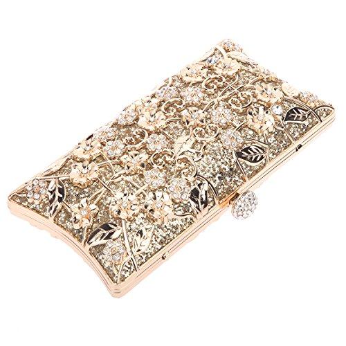 Bonjanvye Shining Metallic Floral Clutch Bags for Girls Handbags Purses Rose Gold Gold