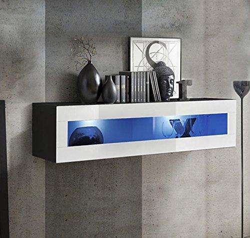 muebles bonitos Armario Colgante Modelo Krista H-120CR (120x30cm) en Negro y Blanco con Led