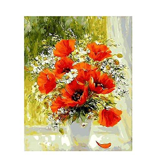 Xuniu No-Framed Poppy Flower Vase Digitales Ölgemälde Auf Leinwand DIY Malen nach Zahlen
