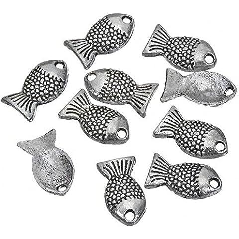 Cute In metallo, a forma di pesce, Ciondolo In argento anticato, 12 mm, confezione da 10