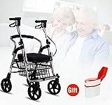 XIHAA Leichter Faltender Wanderer, Vier Runden-Laufkatze mit Handbremse Faltet Für Behinderte/Ältere Leute Für Das Ältere Einkaufen mit Korb (Grau)