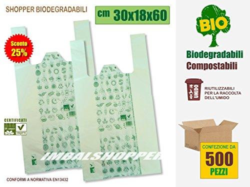SCONTO 25% Buste Shopper Biodegradabili Compostabili, cm 30+18x60 | Scatola da 500 sacchetti. A Norma EN13432.
