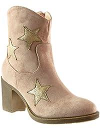 Angkorly - Zapatillas de Moda Botines santiags - cowboy - Vaquero mujer estrella Talón Tacón ancho alto 7.5 CM - plantilla Forrada de Piel