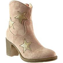 Angkorly - Zapatillas de Moda Botines santiags - cowboy - Vaquero mujer estrella Talón Tacón ancho