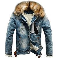 chouyatou Men's Winter Stylish Faux Fur Collar Sherpa Lined Distressed Denim Trucker Jacket (X-Large, Blue)