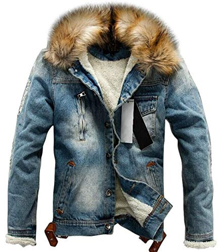 chouyatou Herren winter stilvolle kunstpelzkragen sherpa gezeichneter distressed denim trucker jacket x-large blau Distressed Denim Jacket