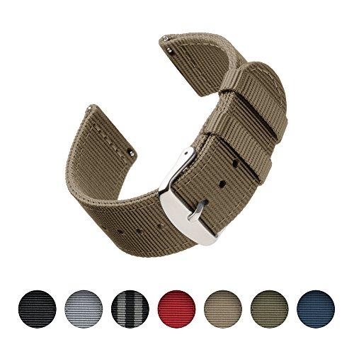 Archer Watch Straps   Premium Nylon Quick Release Ersatz Uhrenarmband für Damen und Herren, Uhrenband für Uhr und Smartwatch   Khaki, 22mm (Strap Nylon Khaki)