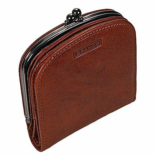 Branco Damenbörse Portemonnaie Geldbeutel Bügelbörse Damen Geldbörse Leder GoBago (Cognac) - Prägung Leder Geldbörse