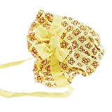 Baby Girls Soft Cotton Floral Rose Bonnet Sun hat Tie Ups 0-6 months (Yellow Big Flower)
