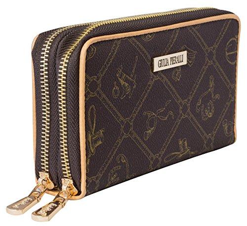 Doppel-portemonnaie (♥ Giulia Pieralli Damen Geldbörse mit Doppel Reißverschluss Modell 02A Glamour portmonee portemonnaie Frauen Geldbeutel Geldbörsen (Braun / Coffee))