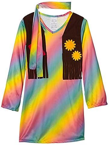 WIDMANN 73358–Enfants Costume Hippie filles veste, robe angenähte et bandeau, arc-en-ciel