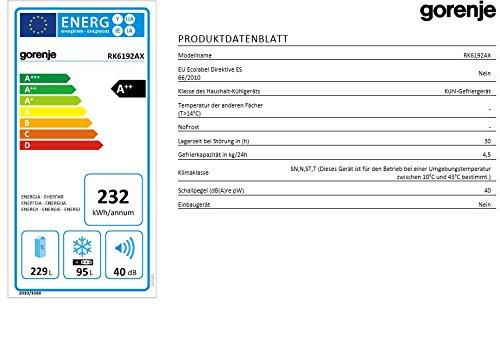 Gorenje RK 6192 AX Kühl-Gefrier-Kombination / A++ / 185 cm Höhe / 232 kWh/Jahr / 229 L Kühlteil / 95 L Gefrierteil / SlotIn Flex-Türscharniere / Edelstahl