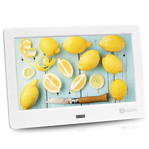 ARZOPA 7-zoll IPS Schirm 1024×600(16:9) Hohe Auflösung Digitaler Bilderrahmen Unterstützung MP3 MP4 Video Player Uhr und Kalender Funktion mit Fernbedienung (weiß)