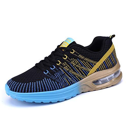WIEIS Sneakers da Uomo Scarpe da Corsa Maglie Ultra Leggere E Traspiranti Atletica Leggera Scarpe da Ginnastica da Passeggio Scarpe Sportive Traspiranti,Blu,35