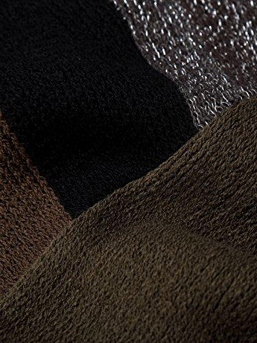 Slivexy Damen Asymmetrisch V-Ausschnitt Gestreift Poncho Schal Grün-Grau