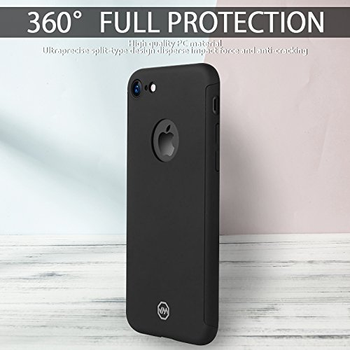 FOGEEK Schutzhülle für iPhone 7: Ultra Slim/Ultra dünn 2 in 1 Vordere und Hintere PC Matte Cover Handyhülle Schutz Hülle Case Tasche + Panzerglas iPhone 7- (iPhone 7, Schwarz) Schwarz