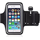 Armband For Samsung Galaxy J2 (2017)Mobile Holder For Your Entire Jogging And Exercise Time | Black In Colour With Glowing White Stripe | Both For Male And Female | Adjustable Free Size | Screen Size Upto 5.5 Inch | Hole For Your Earphone Or Audio Wire |