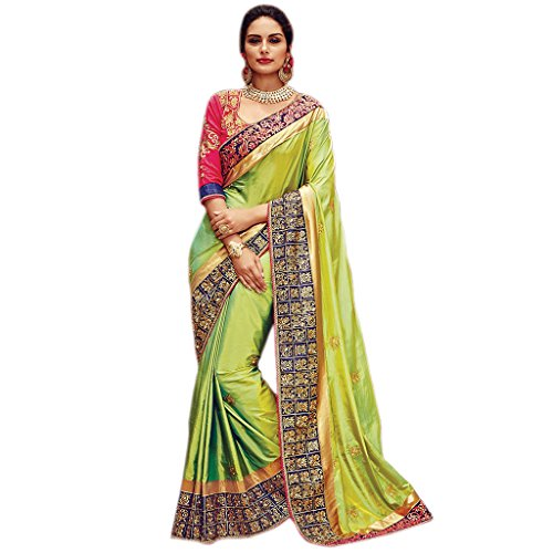Fab Valley Women's Satin Saree With Blouse Piece (Fv3162,Green,Free Size)