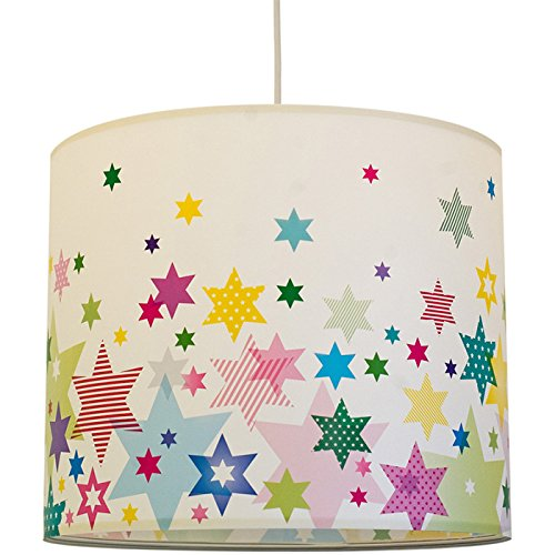 anna wand Lampenschirm STARS 4 GIRLS - Schirm für Kinder / Baby Lampe mit Sternen in versch. Farben – Sanftes Licht für Tisch-, Steh- & Hängelampe im Kinderzimmer Mädchen & Junge Große, Runde-tisch-lampe